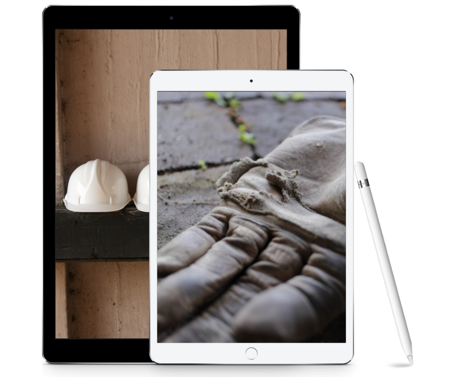 Two tablets with photos of old gloves and hard hats