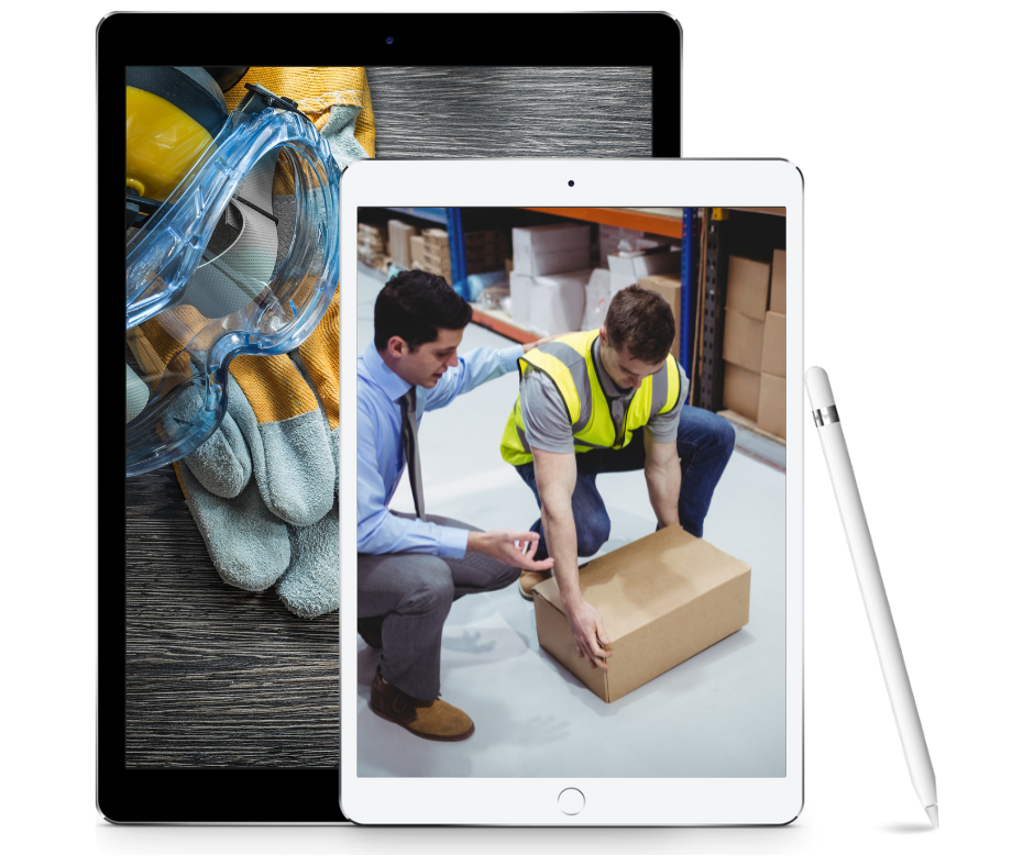 two tablets with photos of works picking up a box and personal protective equipment